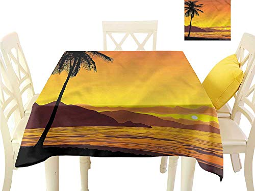 WilliamsDecor Picnic Cloth Tropical,Sunset at Beach with Palms Picnic Cloth W 54
