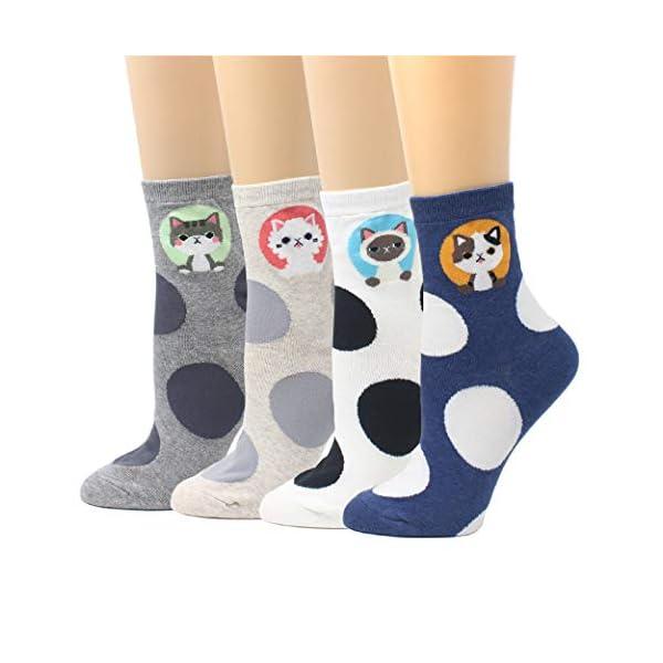 Livebear Women'S 4/5/8/10 Pair Cute Large Print Funny Novelty Crew Socks Made In Korea -