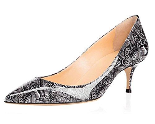 Pointu Kitten gris Classique 5 Shoes Soiree Chaussures heel Escarpins Femme Fermé Cm fleur 6 Bout 5 Elashe Bureau qgXxP1z