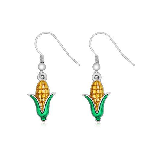 NOUMANDA New Fashion Women Jewelry Corn Dangle Earrings Plants Nature Charm Earrings for Girls (silver)