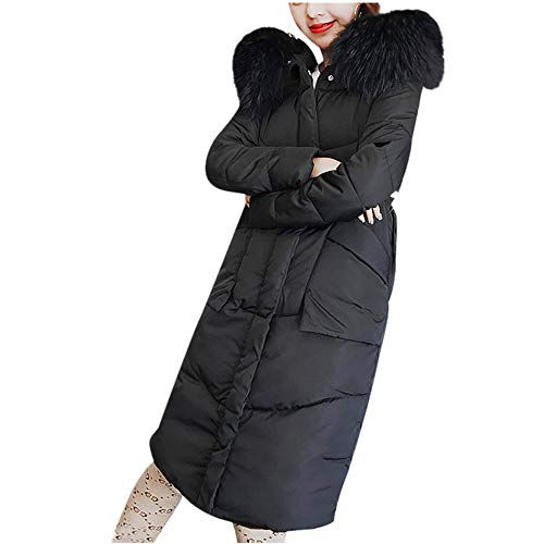 Women's Coats Petite, Women Winter Coat Faux Fur Hooded Collar Long Jackets Warm Thicken Padded Coat, Coats for Women Black
