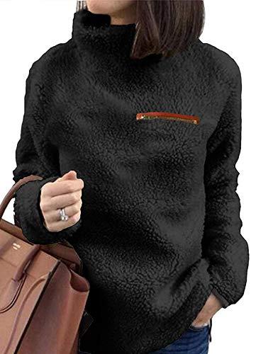 (Women's Fashion Faux Fur Coats Warm Winter Coats Soft Teddy Sherpa for Coat Casual Double Fuzzy Sweatshirt)