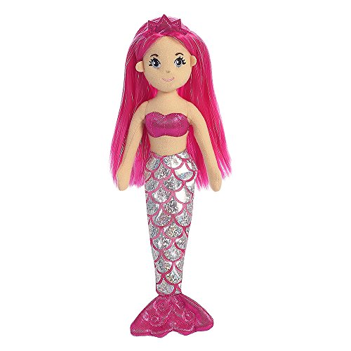 Aurora World 33211 Sea Shimmers Garnet The Mermaid Plush Toy (Medium, Pink/Peach)