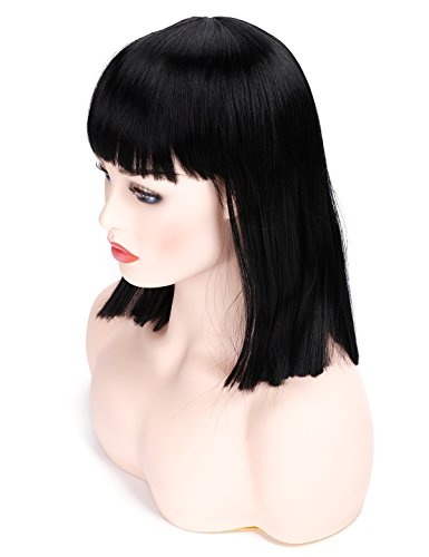 Morvally 14 inches Short Straight Black Bob Wig with Bangs Heat Resistant Hair Natural Looking Cosplay Costume Daily Wigs ()