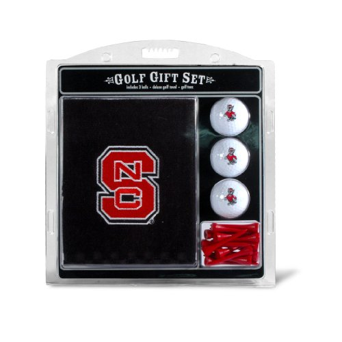 Team Golf NCAA NC State Wolfpack Gift Set Embroidered Golf Towel, 3 Golf Balls, and 14 Golf Tees 2-3/4