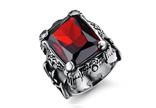 Maikun Men's Jewelry Heavy Metal Titanium Stainless Steel Dragon Claw Square Ruby Gothic Ring Size 11