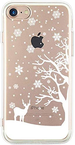 L Fadnut Lovely Xmas For Iphone X Iphone Xs Case Ultra Slim Transparent Soft Flexible Silicone Rubber Gel Protective Phone Cover With White Christmas