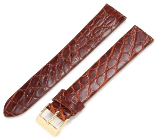 Artisan of Italy CITG500-0318ML Men's Classic Ultra-Thin Crocodile 18mm Tan Long Watch Strap
