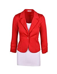 Ourfashion Women's Casual Work Solid Color Knit Blazer