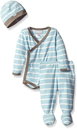 Coccoli Baby Boys' Blue Contrast Rib Knit Cotton Kimono Set, Heather Blue/Cream Stripes, 1 Months (Stripe Knit Layette)