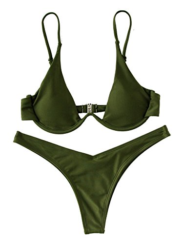 Verdusa Womens Sexy Triangle Bathing Two Pieces Swimsuit Bikini Set Green L
