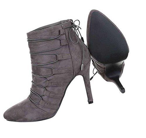 ... Damen Stiefeletten Schuhe Boots Mit Schnürung Schwarz Grau ...