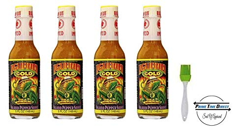 - Iguana Gold Habanero Island Pepper Sauce, 5 oz (Pack of 4) with Silicone Basting Brush in a Prime Time Direct Sealed Bag