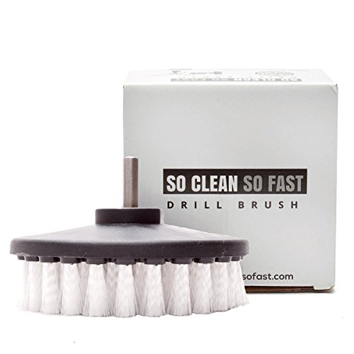Non-scratch Scrub Brush Drill Attachment – Clean Fiberglass Tub, Microfiber Upholstery, Auto Carpet, Boat Seat, Vinyl Floor 5X Faster – 5 Inch Diameter Soft White Bristle
