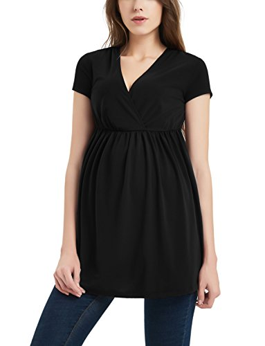 Bhome Maternity Nursing Shirt Wrap Front V Neck Flared Hem Top Black XL