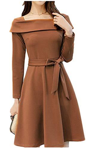 [ワン アンブ] 上品 ドレス ワンピース ウエストリボン パーティ 長袖 M ~ 2XL レディース