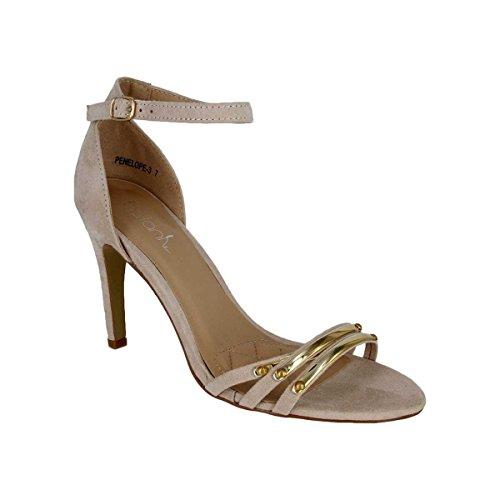 Belts.com Penelope 3 Kvinnor Naken Hög Klack Sandal Med Guld Accenter (naken, 7,5)