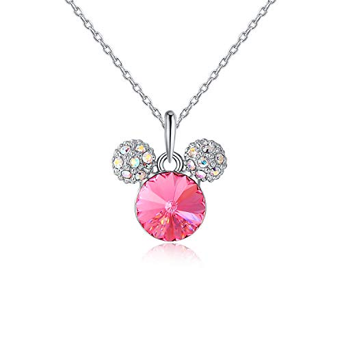 HERAYLI Mickey Mouse Pendant Necklace for Girls/Women,Made with Swarovski Crystal Lovely Women Necklace Jewelry Gift (Pink)