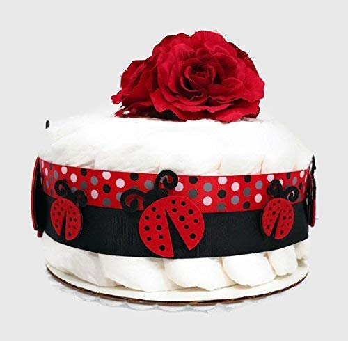 Ladybug One Tier Girl Baby Girl Diaper Cake Baby Shower Centerpiece