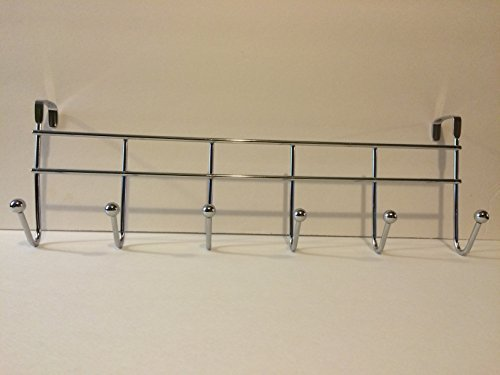 Over the Door Rack with 6 Hooks, Chrome Finish. Hang your umbrellas, hats, bags, jackets, coat, towels, robes clothing, caps, backpacks, and other items you use everyday. Home or Office. by Interiors by design