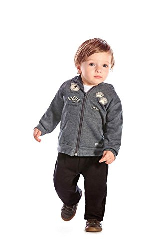 Baby Boys Long Sleeve Striped Tops Pants Trouser Outfit (Black+Grey) - 2