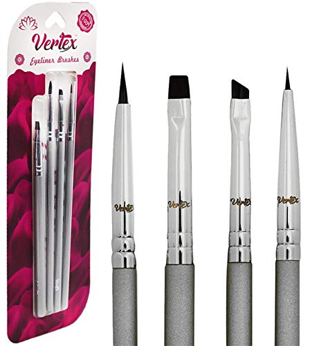 - Vertex Beauty: Eyeliner Brush Set Makeup Brush Set - Designed By Expert Makeup Artists - Solid Non-Bleached Bristles - Creates Flawless Looks - Perfect Winged Liner