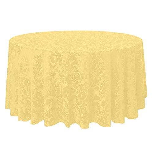 Ultimate Textile -10 Pack- Damask Melrose 108-Inch Round Tablecloth - Floral Leaf Scroll Jacquard Design, Gold