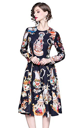 (LAI MENG FIVE CATS Women's Round Neck Paisley Print Casual A-line and Flare Midi Dress Black)