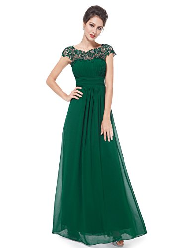 Ever-Pretty Womens Lacey Empire Waist Floor Length Prom Dress 6 US Green