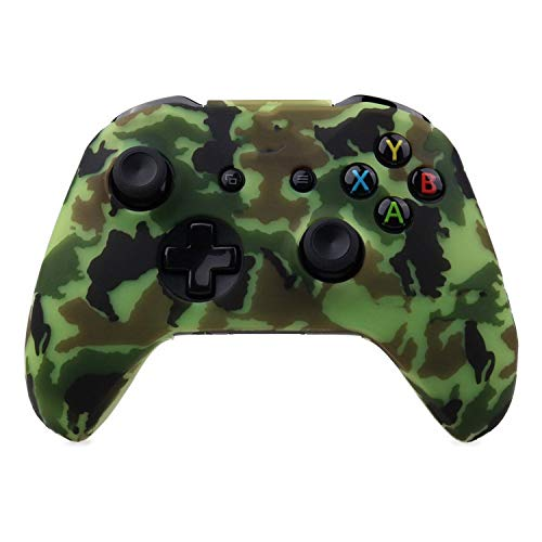 Silicone Protective Skin Case for XBox One X S Controller Protector Water Transfer Printing Camouflage Cover Grips Caps,Light Green Camo