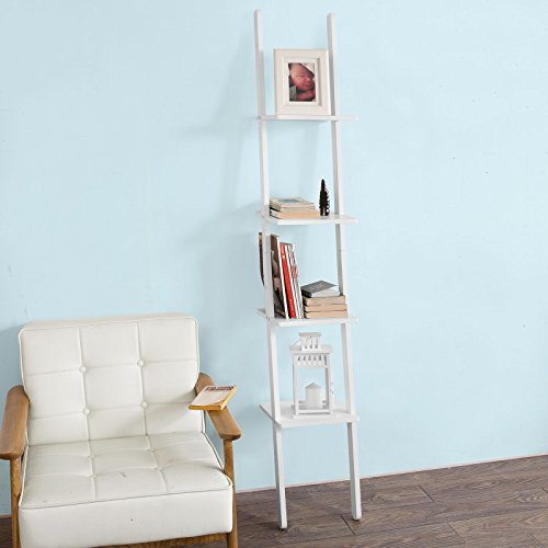 SoBuy FRG165-W, White 4 Tiers Ladder Shelf Wall Shelf Bookcase, Storage Display Shelving