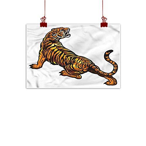 Art Poster Print Tattoo,African Tiger Roaring Safari 48