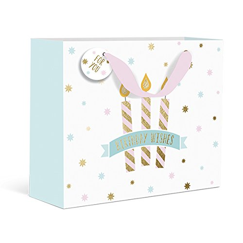 Graphique Birthday Candles Medium Gift Bag - Embellished Gold Foil Candles Over