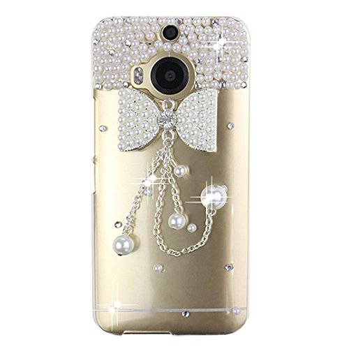 KAKA(TM HTC case,HTC M9 Plus Case Creative Design Clear Case Bling Glitter with Bead Pearls Bowknot Chains