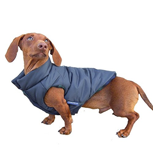 DJANGO Puffer Dog Jacket and Reversible Cold Weather Dog Coat with Full Coverage and Windproof Protection (Medium, Matte Navy)