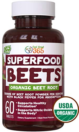 USDA Organic Superfood Beet Root Powder by Feel Great 365 | Beetroot Nitric Oxide Supplement with Natural Nitrates for Increased Natural Energy* | Non-GMO and Vegetarian Organic Circulation Tablets*