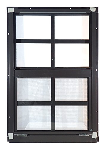 Shed Windows 12'' W x 18'' H - Flush Mount w/ Safety Glass - Playhouse Windows (Brown) by Outdoor Play and Storage