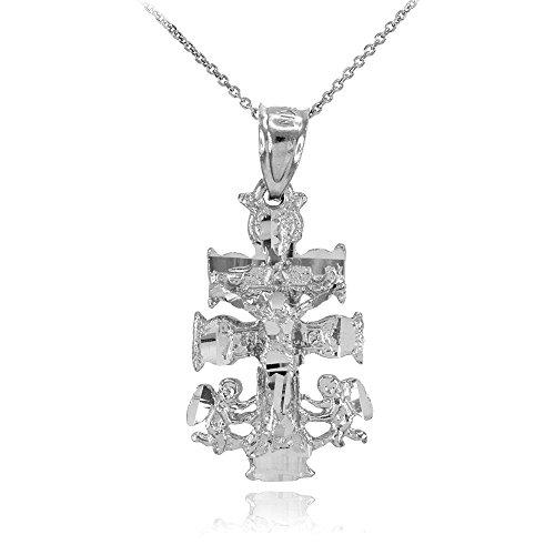 Collier Femme Pendentif 10 Ct Or Blanc Caravaca Crucifix Croix Charme (Livré avec une 45cm Chaîne)