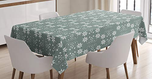 Ambesonne Garden Tablecloth, Artistic Baroque Style Inspired Delicate Daisy Flower Petals and Dots, Dining Room Kitchen Rectangular Table Cover, 52 W X 70 L Inches, Light Sage Green White