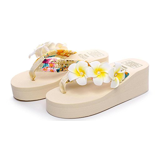 Plage Chaussures Fleur Tongs Femmes Nouvelle Forme Pantoufles Antidérapante Pantoufles Plate épaisse Fraîche des CHENGXIAOXUAN pour Romaines Beige Décontractées avec Mode Plate xv7qTqw