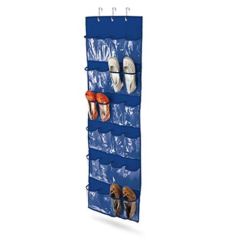 Honey-Can-Do SFT-01278 Over The Door Clear Shoe Organizer/Storage Rack, Navy