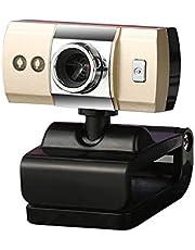 USB HD Webcam 480P Video Calling Web Camera Golden Built-in Sound Digital Microphone LED Lights PC, Desktop, Laptop