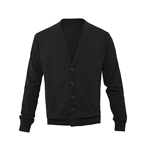 L.Roiine Men's Fine Gauge Solid Knit Slim Fit Collar Cardigan Sweater With Ribbing Edge(M, Black)