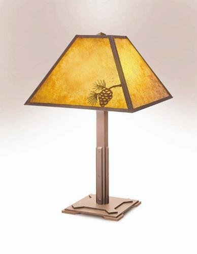 Steel Partners Lighting 250 Table Lamp Mission 60 Wattage, Rust Finish Metal Shade with Pinecone Detail
