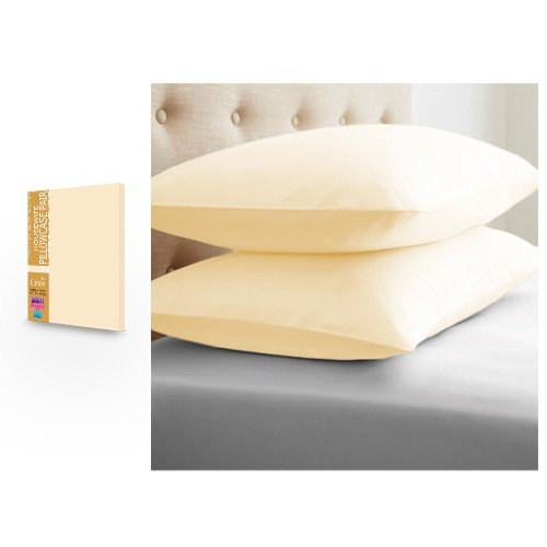 BLACK FRIDAY DEAL 2017 Pure 100% Cotton Cream Housewife Pair of Pillowcases Boxify