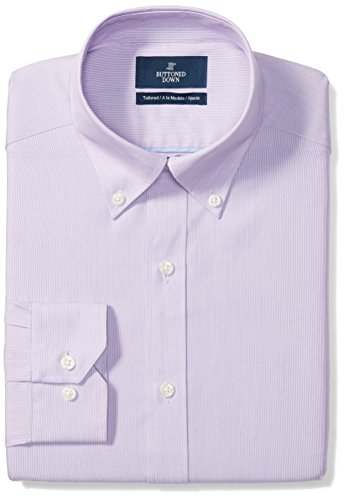 BUTTONED DOWN Men's Tailored Fit Button-Collar Pattern Non-Iron Dress Shirt, Purple Mini Houndstooth, 18