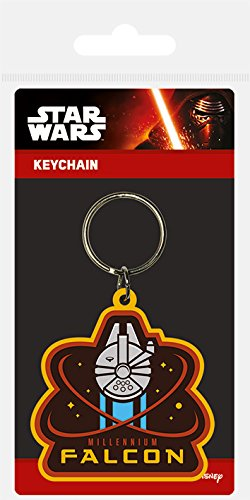 Star Wars Pyramid International Episode VII Millenium Falcon Rubber Keychain, Multi-Colour, 4.5 x 6 cm