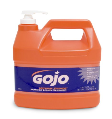 GOJO NATURAL ORANGE Pumice Industrial Hand Cleaner, 1 Gallon Quick Acting Lotion Hand Cleaner with Pumice Pump Bottle (Pack of 2) - 0955-02 by Gojo (Image #1)