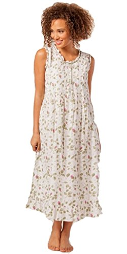 La Cera Women's Sleeveless Night Gown in Blooming Vines L Multi-color (Pintucked Nightgown)