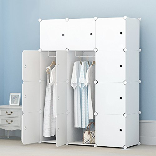 MEGAFUTURE Portable Wardrobe for Hanging Clothes, Combination Armoire, Modular Cabinet for Space Saving, Ideal Storage Organizer Cube for books, toys, towels(12-Cube, Extria Stickers Included)